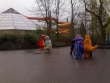 Walibi characters in the snow