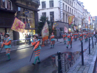 Flag bearers on Rue du Midi