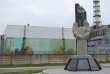 Chernobyl - Reactor 4 - Monument with guy painting wall