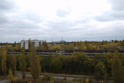 Pripyat - Hotel Polissya - View of workers houses and Reactor 4
