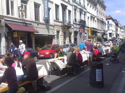 Giant Picnic Table (view down Rue du Midi towards Rue du Lombard)