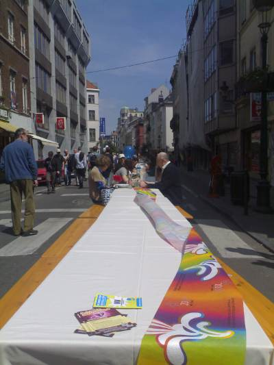 Giant Picnic Table (view down Rue du Midi towards Rue des Moineaux)