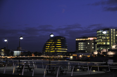 The weird Greater London Authority building across the Thames from around Sugar Quay in the evening