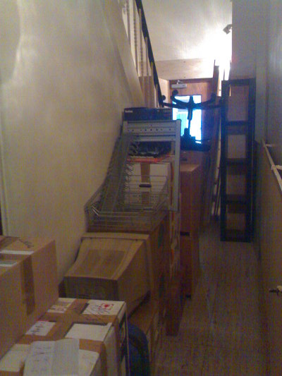 All my worldly goods stuffed into the entrance hall at the old building