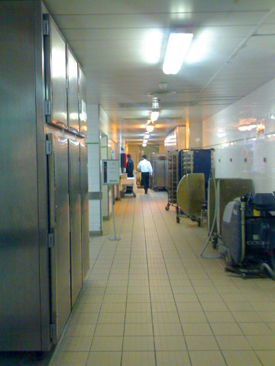 Service corridors at Charles de Gaulle Airport Hilton